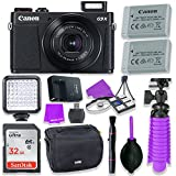 Canon PowerShot G9 X Mark II Compact Digital Camera w/ 1 Inch Sensor and 3inch LCD - Wi-Fi, NFC, & Bluetooth Enabled (Black) & LED Video Light, 32GB Sandisk Memory Card + Accessory Bundle