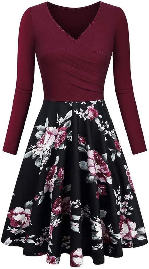 KIMODO damska sukienka z długim rękawem dekolt w serek vintage sukienka moda 2019 - xxl: Odzież