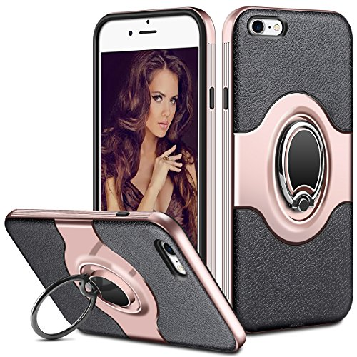 ELOVEN Case for iPhone 7 Case iPhone 8 Case Ring Holder Kickstand Rotatable Heavy Duty Protection Dual Layer Thin Protective Hard Shell TPU Bumper Cover Case for Apple iPhone 7 8 4.7 (Rose Gold)