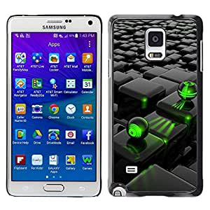 Paccase / SLIM PC / Aliminium Casa Carcasa Funda Case Cover - Abstract Green Black - Samsung Galaxy Note 4 SM-N910F SM-N910K SM-N910C SM-N910W8 SM-N910U SM-N910