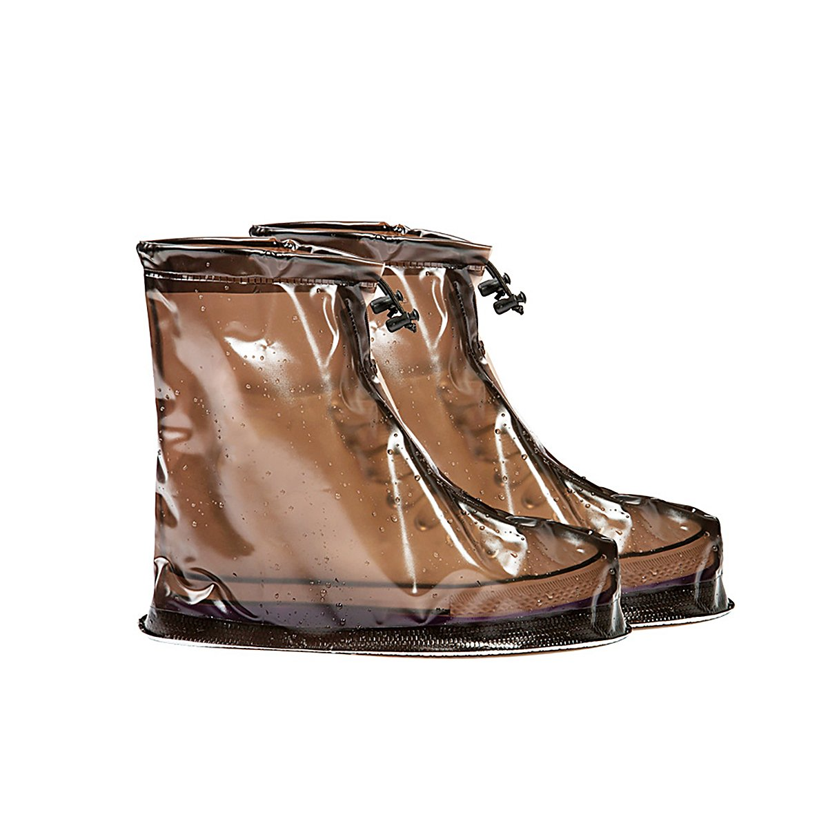 Brown Men and Women Models Waterproof Rain Boots Rainy Outdoor Rain Boots Travel Spare Waterproof Shoe Covers Easy To Carry M-1 by YoungJay (Image #1)