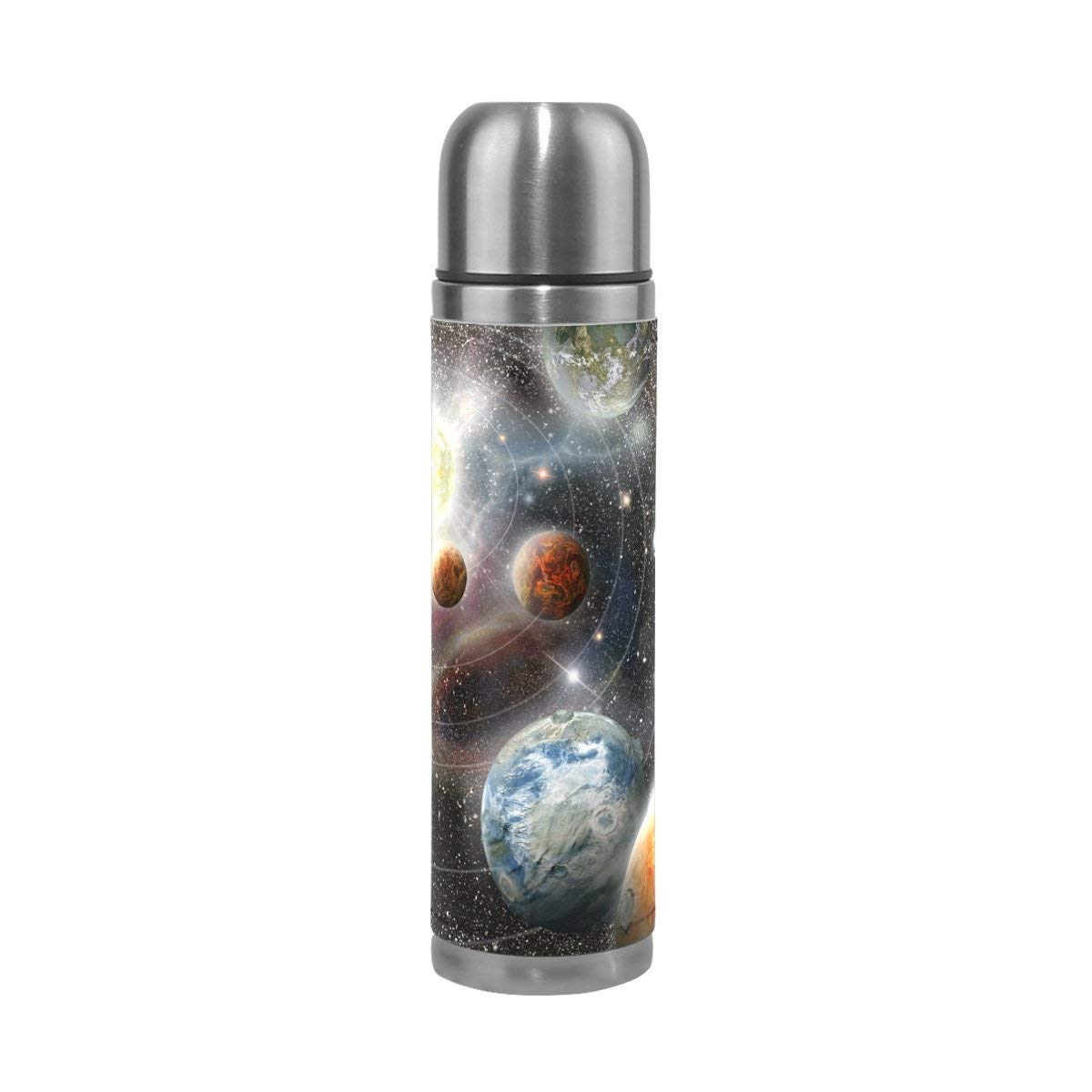 EAKLLCI Stainless Steel Water Bottle Double Wall Vacuum Cup Insulated PU Leather Travel Mug 17 oz Planet Star Solar System in Space Christmas Birthday Gifts for Mom Dad Boys Girls Kids Lover Friends