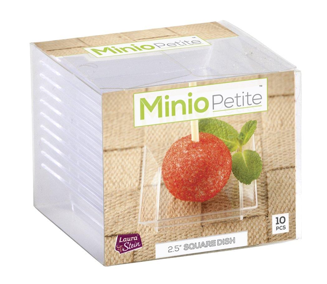 Minio Petite 2.5x2.5-Inch 10-Piece Square Mini Dessert Plates, Clear (1-Pack) KCH CORPORATION
