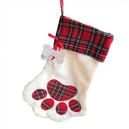 Jannyshop Calcetines de Navidad Patrón de Perro Decoración la Chimenea Rojo