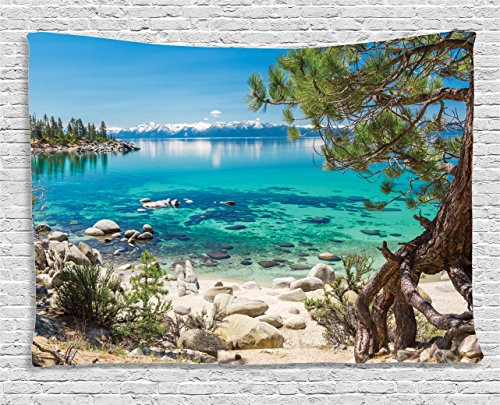 Room Decor Tapestry by Ambesonne, Lake Tahoe Snowy Mountain