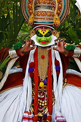 Canvas on Demand Wall Peel Wall Art Print entitled Portrait of Kathakali dancer in full costume (Kathakali Full Costume)