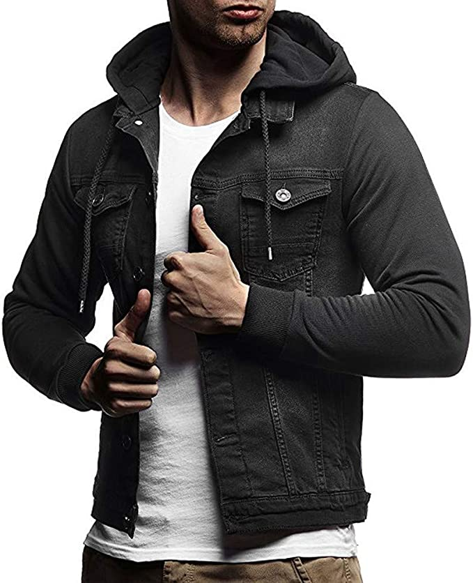 F/_Gotal Mens T-Shirts Short Sleeve Buttons Down Denim Jacket Slim Casual Blouse Tops with Pockets Hoodies for Men