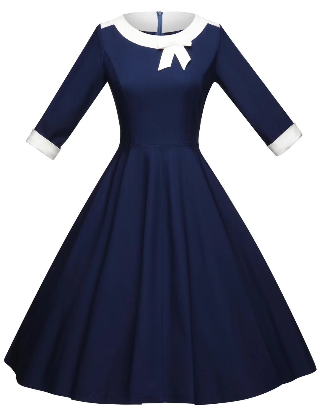 GownTown Womens Dresses 1950s Vintage Dresses 3/4 Sleeves Pocket Bowknot Stretchy Dresses