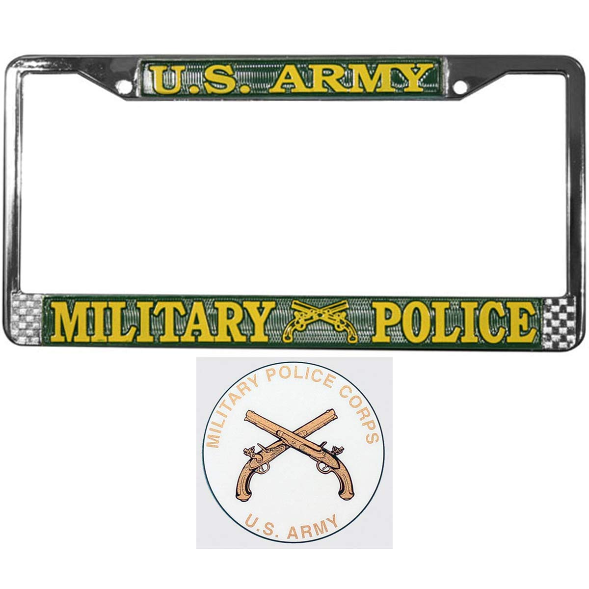 Butler Online Stores US Army Military Police License Plate Frame Bundle with US Army Military Police Decal