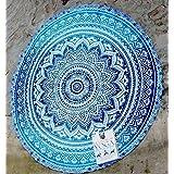Tradicional Pavo Real de Mafia Hippie Indio Mandala Redondo Roundie Tapestry, 203,2cm, Blue/White