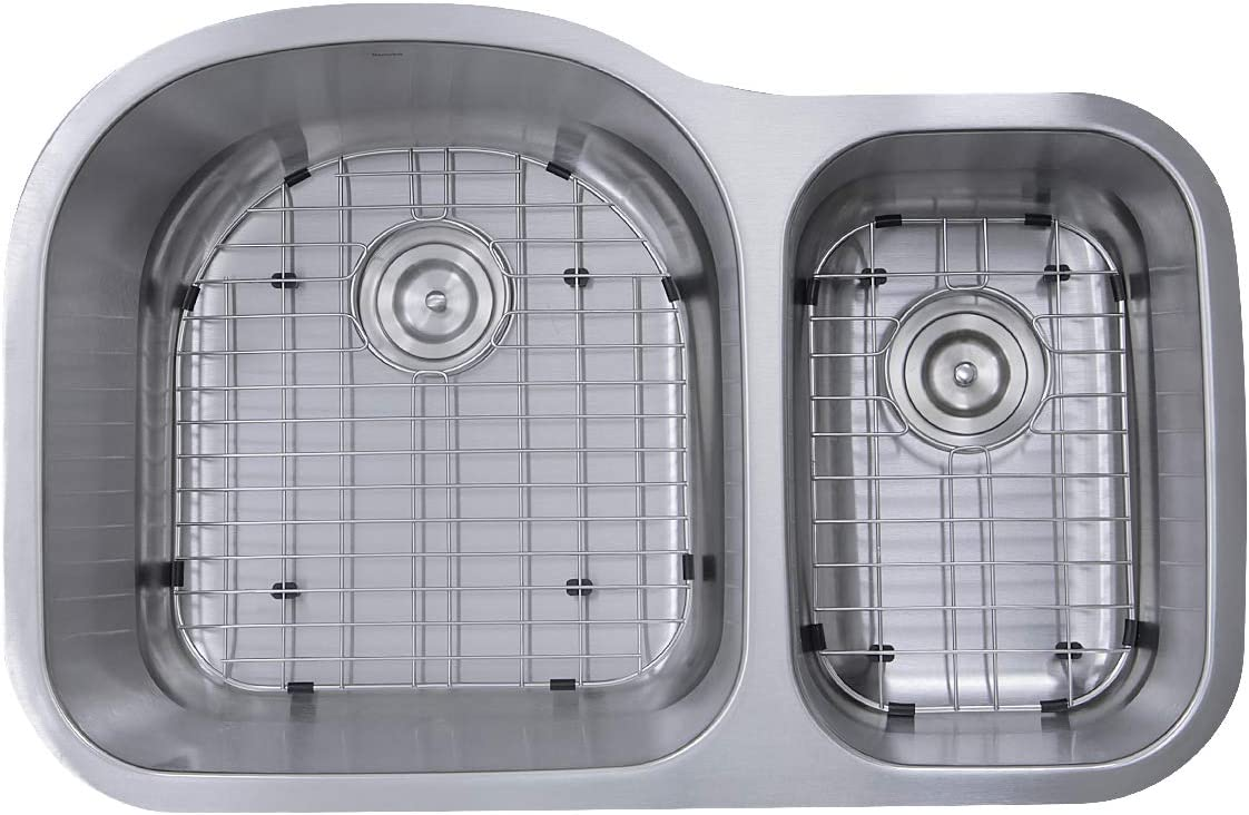 Nantucket Sinks NS3121-16 31-Inch 70 30 Double Bowl Undermount Kitchen Sink, Stainless Steel