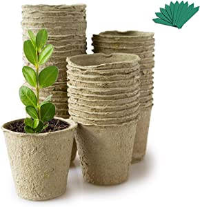 GROWNEER 60 Packs 2.4 Inch Peat Pots Plant Starters for Seedling with 25 Pcs Plant Labels, Biodegradable Herb Seed Starter Pots Kits, Garden Germination Nursery Pot
