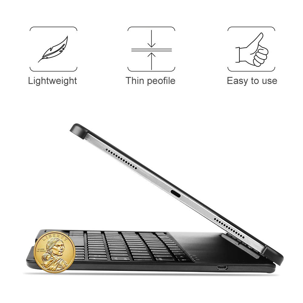 Keyboard Case for iPad Pro 11,130 Degree Rotation, 7 Color Backlit Keyboard,Thin and Light Case,BT Connect, iPad Pro 11 Keyboard Case, (Black, 11)