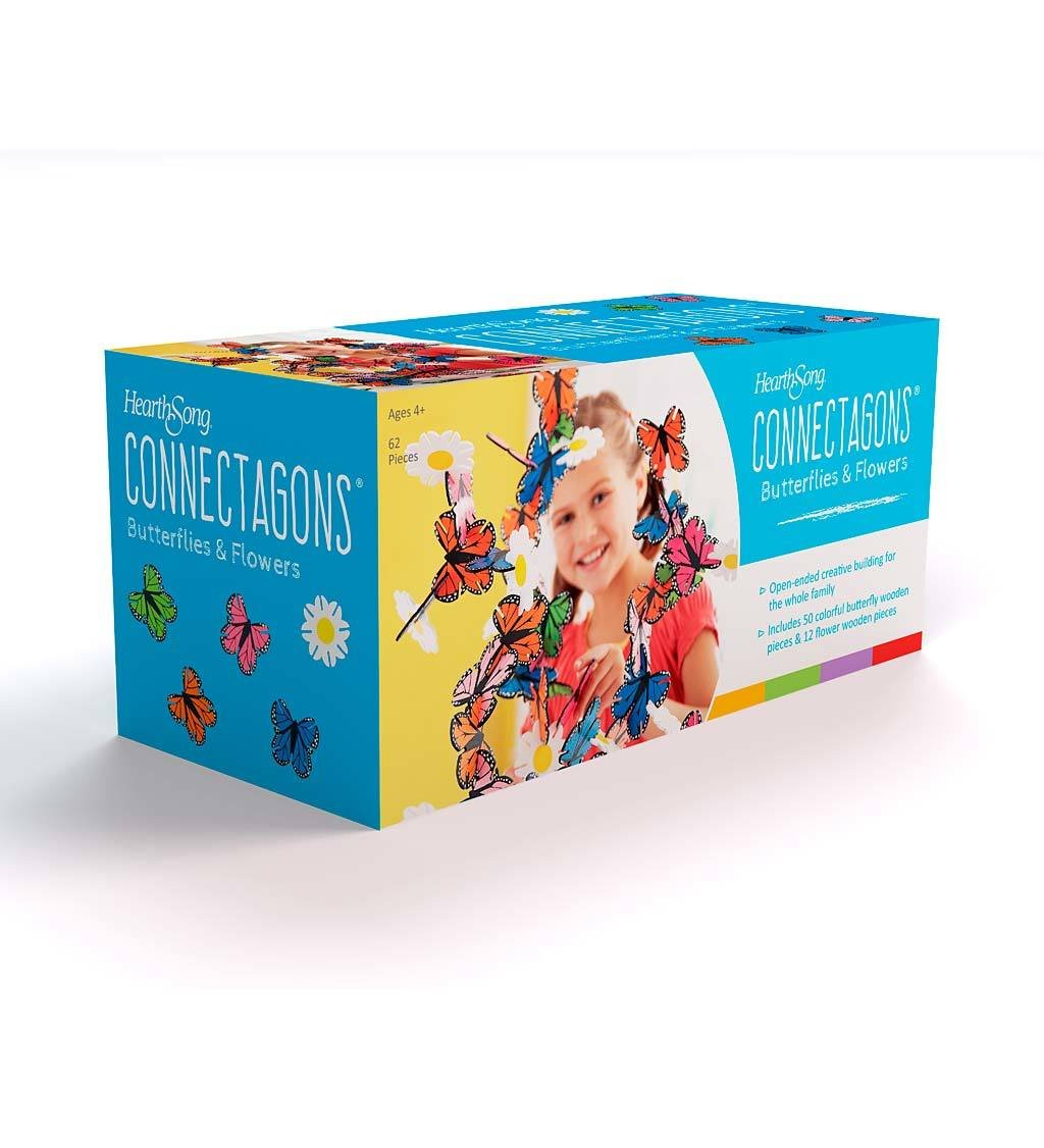 HearthSong/® Connectagons Butterflies and Flowers 62 Piece Wooden 3D Interlocking Toys Building Play Set 725652