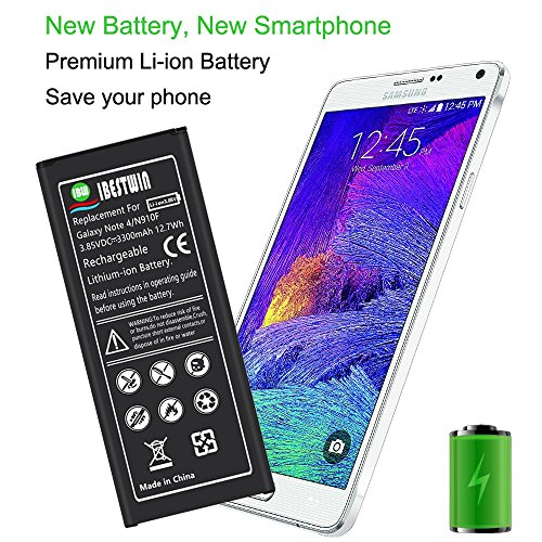 Note 4 Battery IBESTWIN 3300mAh Li-ion Replacement Battery for Samsung Galaxy Note 4 N910, N910V, N910A, N910T, N910P, N910R4, N910U 4G LTE, N910F [3 Years Warranty] by IBESTWIN (Image #1)