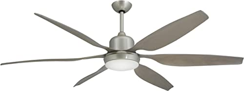 TroposAir Titan Brushed Nickel Industrial Ceiling Fan with 66-Inch Contoured ABS Blades, Integrated Light and Remote
