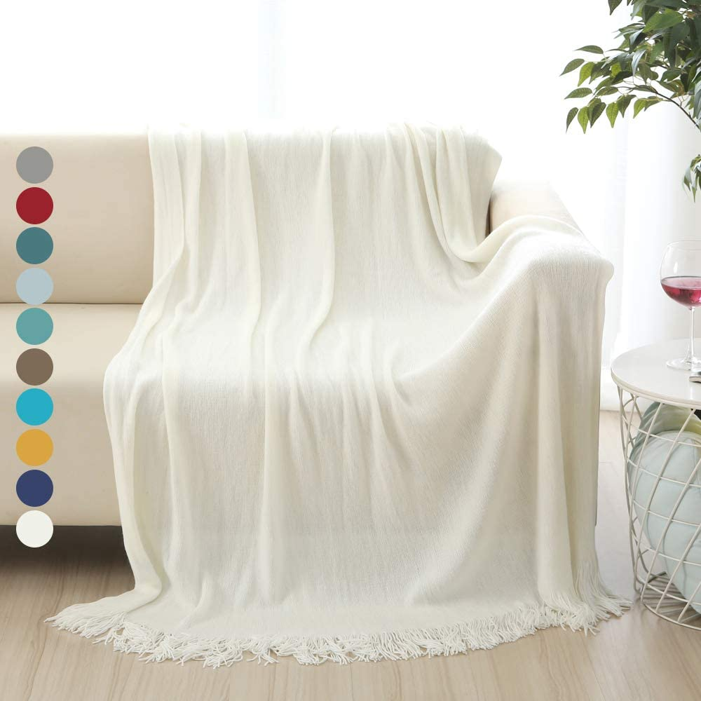 """ALPHA HOME Acrylic Bed Throw Blankets for Couch Christmas 50""""x60"""" SoftLightweight Decorative Tassel Blanket with Fringe for All Seasons Throw Blanket for Family, Friends, White"""