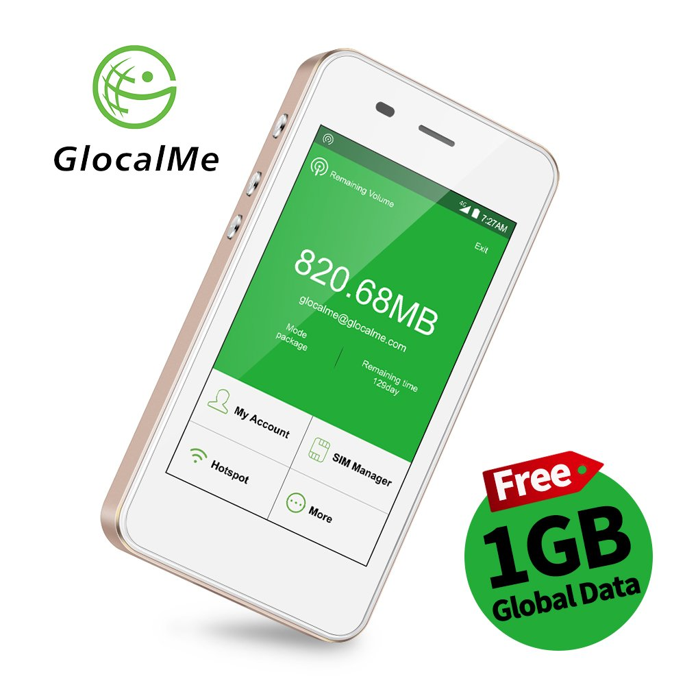GlocalMe G3 4G LTE Mobile Hotspot, [Upgraded Version] Worldwide High Speed WIFI Hotspot with 1GB Global Initial Data, No SIM Card Roaming Charges International Pocket WIFI Hotspot...