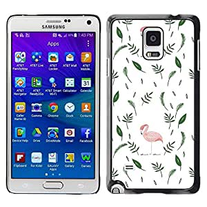 FECELL CITY // Duro Aluminio Pegatina PC Caso decorativo Funda Carcasa de Protección para Samsung Galaxy Note 4 SM-N910 // Flamingo Pink Leaves Minimalist White Green