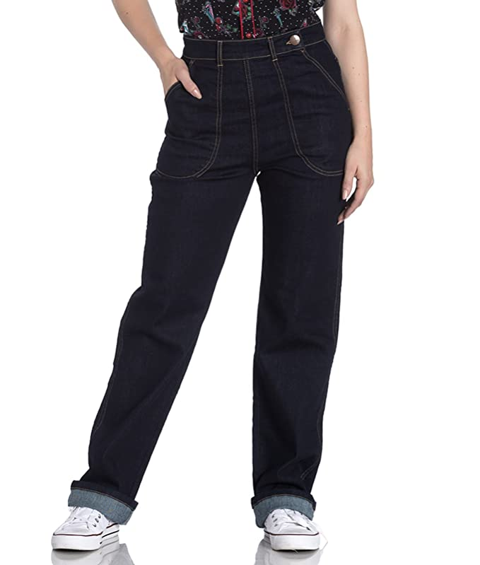 1940s Swing Pants & Sailor Trousers- Wide Leg, High Waist Hell Bunny Weston 40s Style Rockabilly Denim Jeans £34.99 AT vintagedancer.com