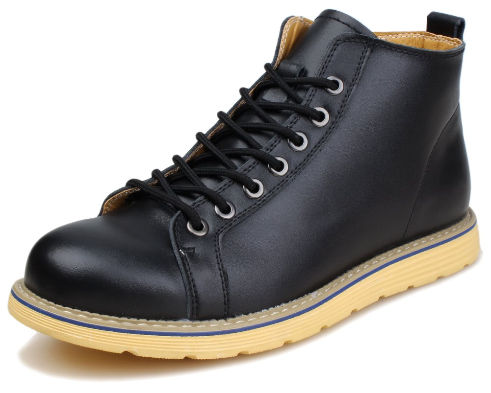 Kunsto Men's Leather Casual Ankle Boot Lace Up US Size 12 Black