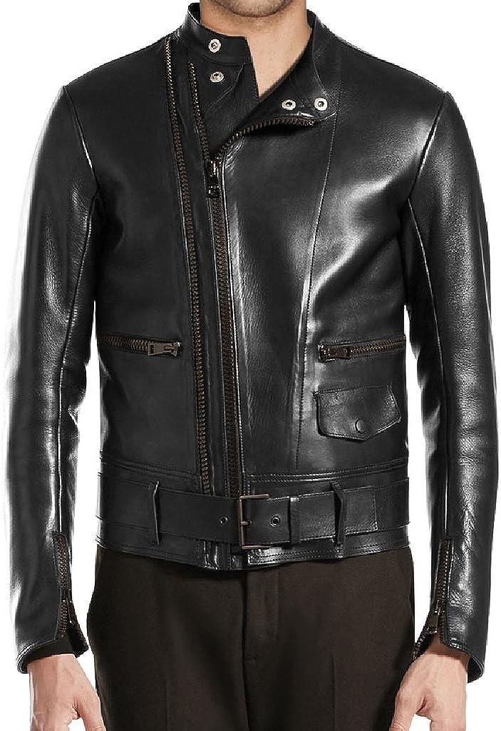 New Men Motorcycle Black Cow Leather Jacket Coat Size XS S M L XL LTC085