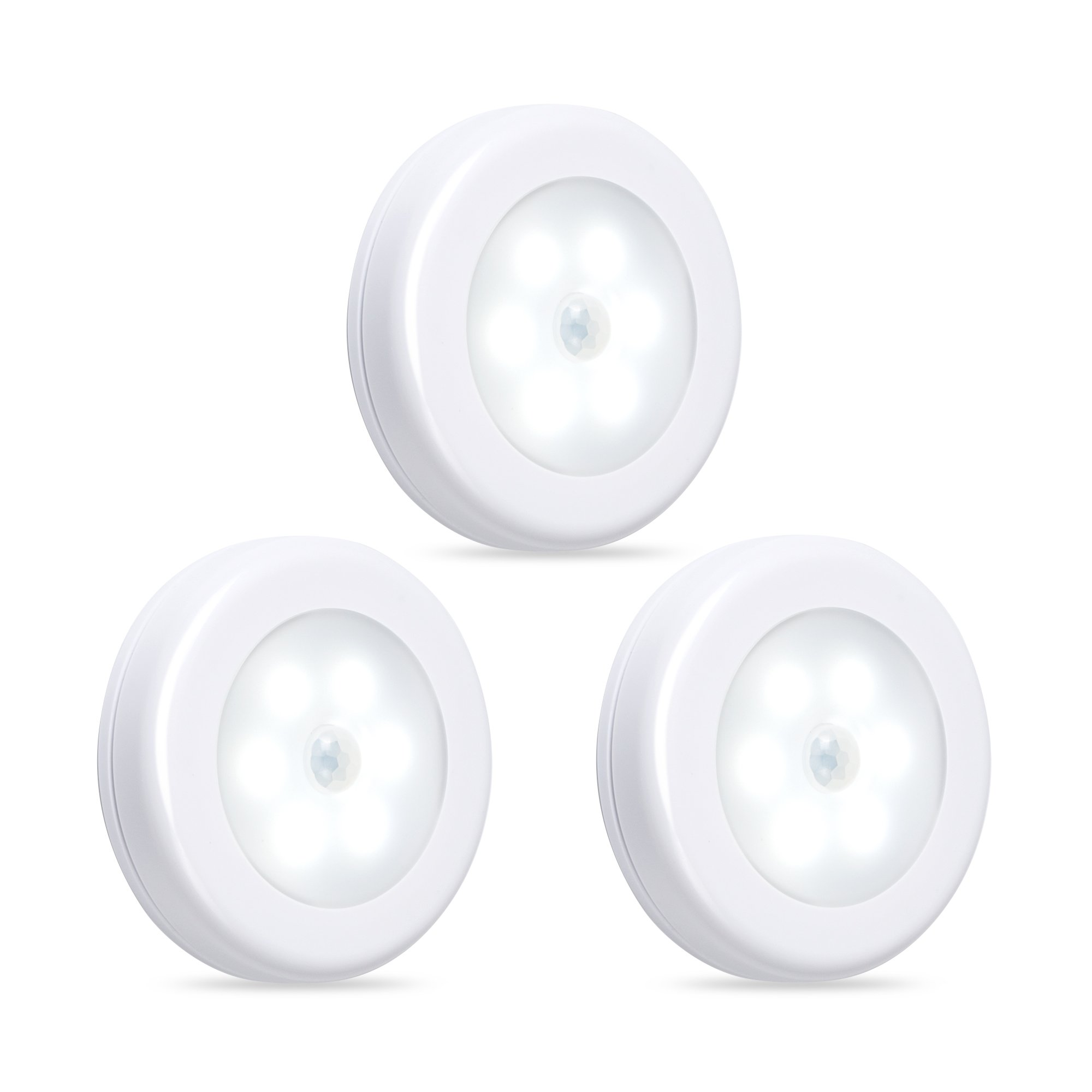 Century CP-BPLL3 Motion Sensor Battery Powered LED Light for Entrance, Hallway, Garage and Bathroom (3 Pack), Off-White, 3 Unit