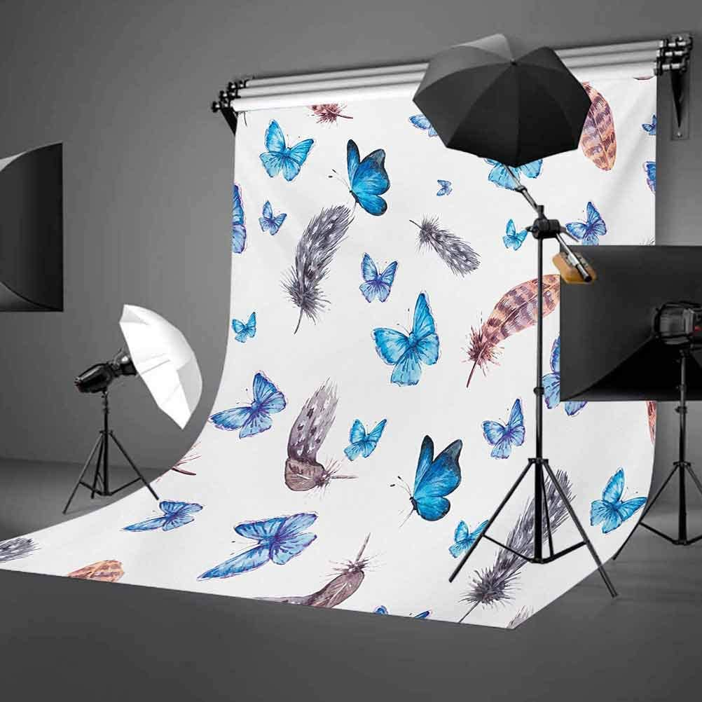 6x6FT Vinyl Photography Backdrop,Butterfly,Poppies and Butterflies Photo Background for Photo Booth Studio Props