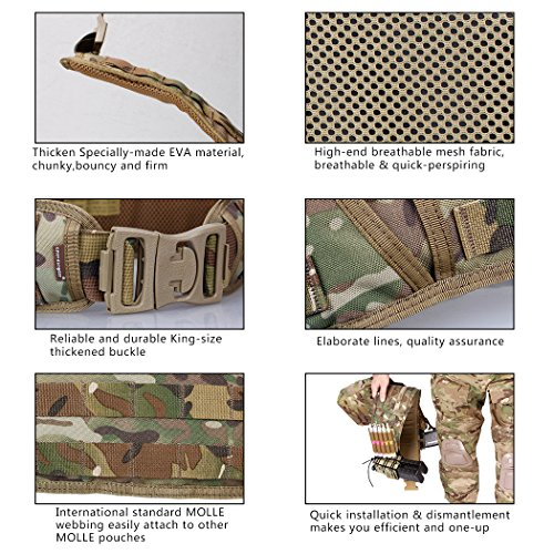 IDOGEAR Tactical Belt Padded Patrol Molle Battle Belt 1000D High Density Nylon Padded Combat Waist Belts Airsoft Hunting Shooting Outdoor Gear MultiCam by IDOGEAR (Image #4)