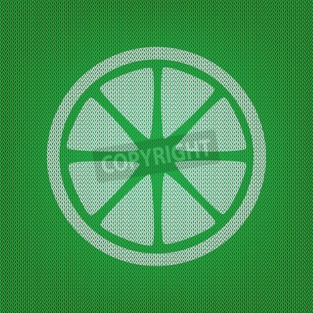 Fruits Lemon sign. White Icon on the green Knitwear or Woolen ...