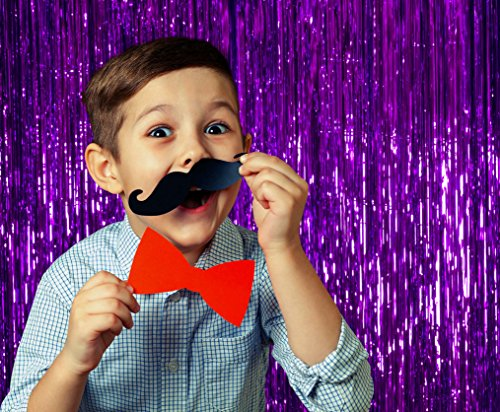 Purple Party Decorations Tinsel Foil Fringe Curtain Birthday Decoration 3 x 8 Feet, Pack of 3 Metallic Plastic Door Curtains Fringes for Photobooth Backdrop