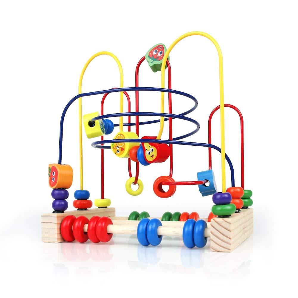 yoptote Motorikspielzeug Holzspielzeug Perlen-Labyrinth Roller Coaster Spiel Motorikschleife aus Holz Für Kinder ab 3 Jahren (Insect Beads Maze) SM Toys Factory TT-RZ-1