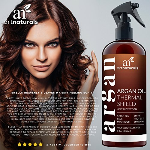 ArtNaturals Thermal Hair Protector Spray - 8.0 Oz - Protective Spray against Flat Iron Heat - Contains 100% Organic Argan Oil Preventing Damage, Breakage & Split Ends - Made in the USA - Sulfate Free by ArtNaturals (Image #4)