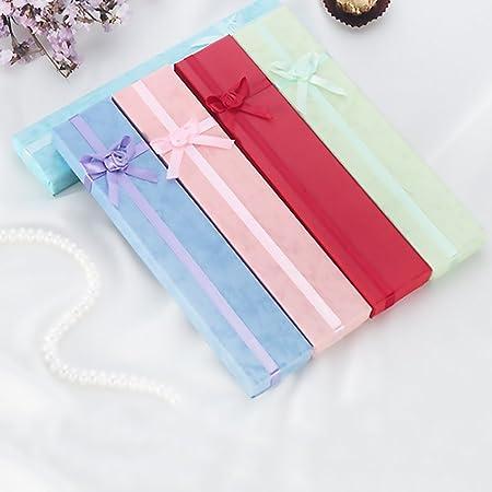 SimpleLife Caja de Caja de exhibición de Pulsera de Collar de 5 Piezas Cajas de Regalo de joyería Larga con Lazo para Caja de Reloj de Pulsera de Collar, Color Aleatorio: Amazon.es: