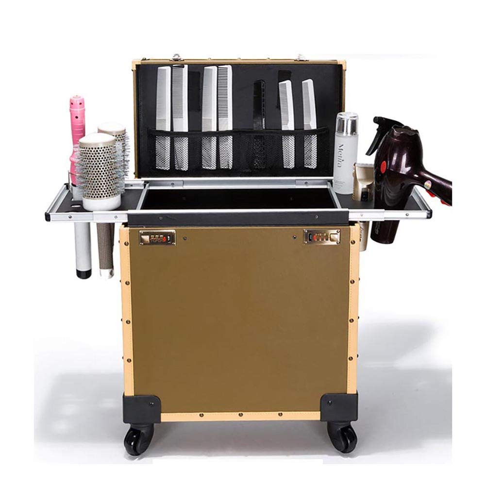 Beauty Salon Makeup Train Case Stylist Hairdressing Trolley Cosmetic Travel Luggage Organizer Box with 4 Removable Wheels Hair Dryer Holder, Black wexe.com