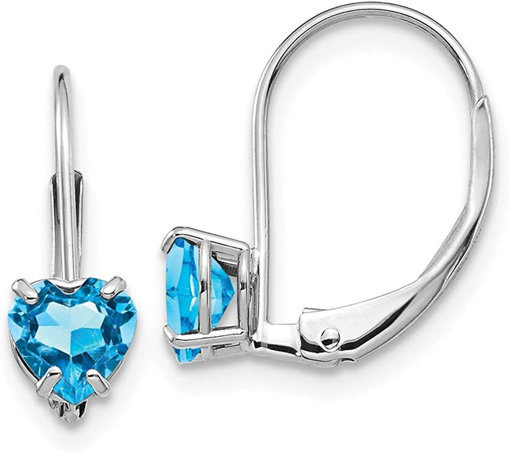 Mia Diamonds 14k White Gold 5mm Heart Blue Topaz Leverback Earrings