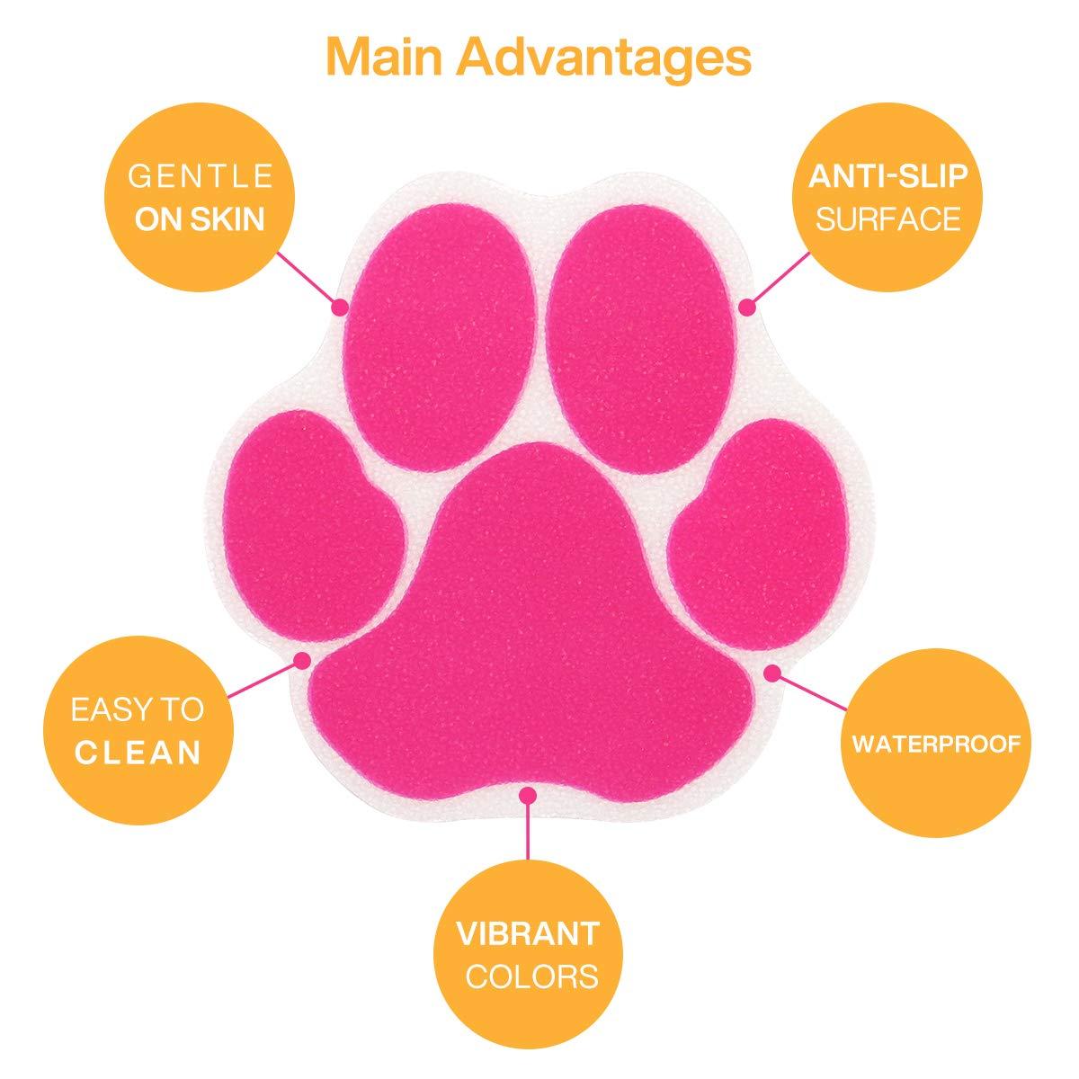 Ratgoo 12Pcs Dog Paw Footprint Non Slip Bathtub Stickers,Strong Adhesive Bathtub Appliques,Anti-Slip Bathtub Decals for Tub,Stairs,Kitchen,Shower Room,Treads,Bath Room,Floor,Swimming Pool. Pink