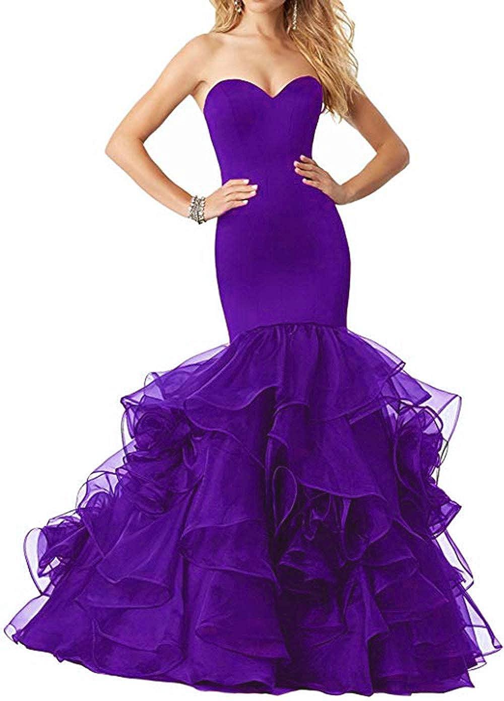 Purple Women's Sweetheart Mermaid Prom Dresses Long Strapless Ruffle Organza Formal Evening Ball Gowns 2019