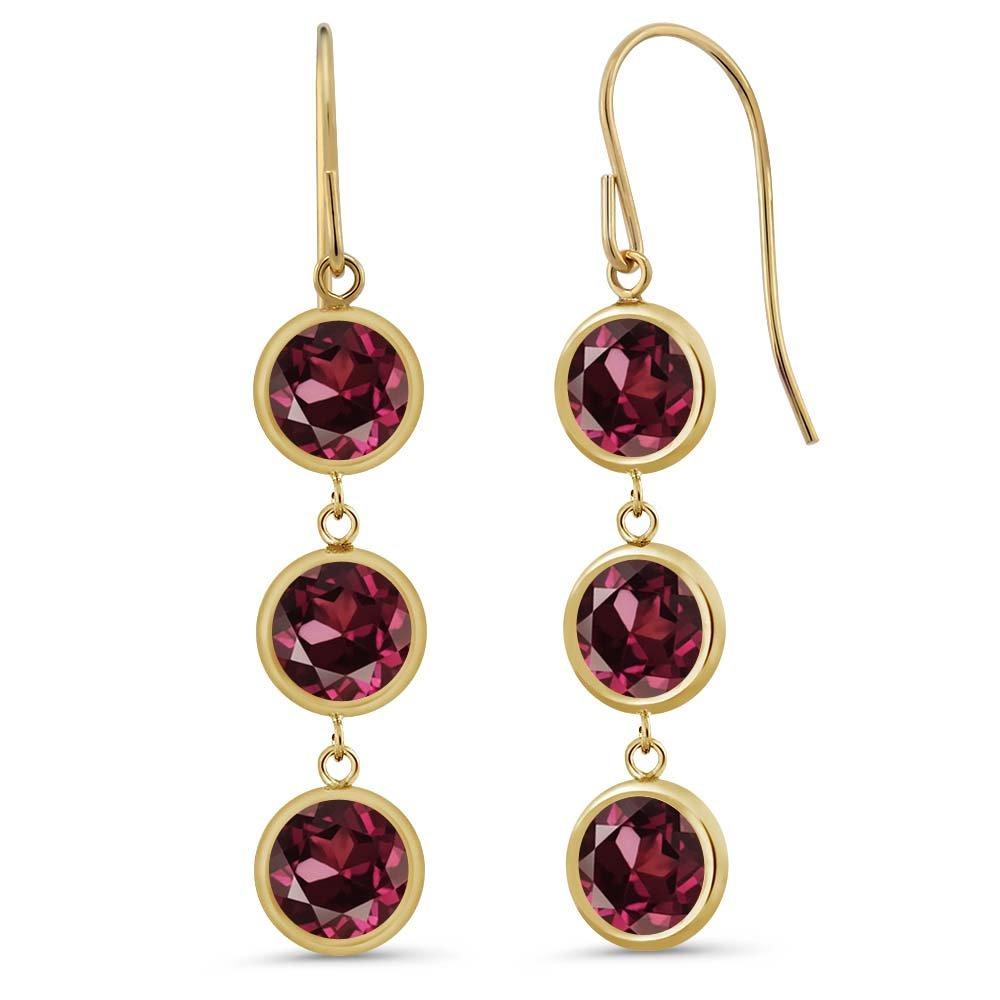 3.84 Ct 3 Red Rhodolite Garnet Stones 14K Yellow Gold Bezel 1'' Dangle Earrings