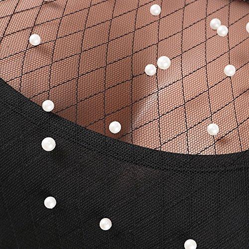 Notte Vintage Twin Casual Party Lunga Prospettiva Mesh Stile Modern Donna Camicetta Vita Nero Rotondo Lunga Slim La Set Manica Pantaloni Fit Classiche Pezzi Estivi Collo Donne Due Unique Elastica per qZF7T4