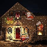 Halloween Outdoor Decorations, JQstar Projector Lights 12 Pattern Gobos Garden Lamp Lighting Waterproof Sparkling Landscape Projection Light for Christmas Holiday Party Wedding Decoration (Colorful)
