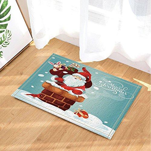CdHBH Merry Christmas Festive Decor Santa Claus with Gift Bag Gets into Chimney Bath Rugs Non-Slip Doormat Floor Entryways Indoor Front Door Mat Kids Bath Mat 15.7x23.6in Bathroom - Santa Festive Bag