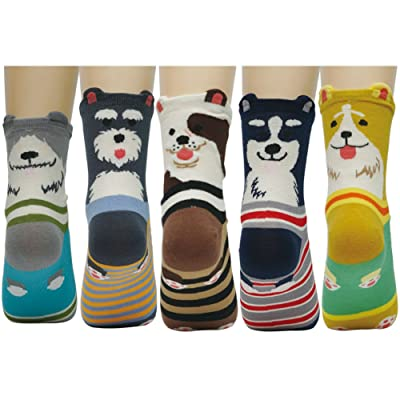 5 Pairs Womens Cute Animal Cotton Socks Colorful Funny Crew Socks Christmas Gift