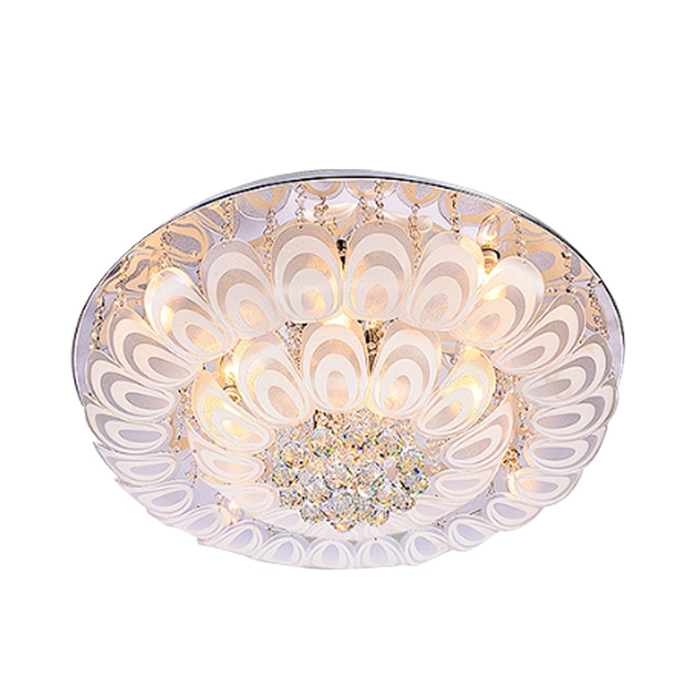 Siminda LED Clear Crystal Chandelier Round Ceiling Lighting Living Room Pendant Lamp 23.6Inch