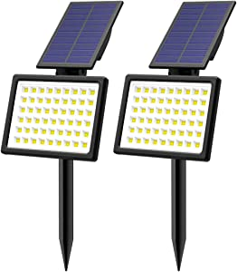 T-SUN Outdoor Solar Lights,2 Pack Waterproof Landscape Spotlights 54 LED Wireless Adjustable Bright White Light,Dual-use Lights for Yard Garden Driveway Lawn Pool Backyard
