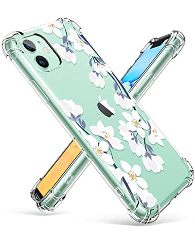 GVIEWIN iPhone 11 Case,Clear Flower Design Soft\u0026Flexible TPU Ultra,Thin  Shockproof Transparent Bumper Protective Floral Cover Case for iPhone 11  6.1