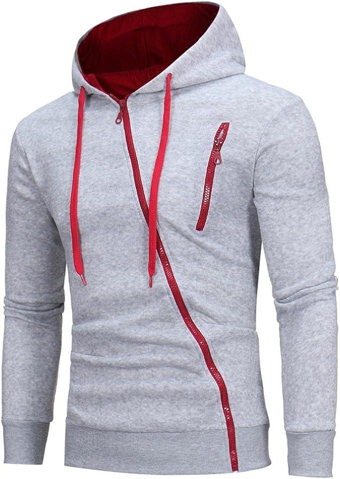 YunYoud Kapuzenpullover Mode Herren Lange Ärmel Sweatshirt Kapuzenpullover Kapuzenpulli Tops beiläufiger Jacke Taschen Mantel Schrägem Reißverschluss