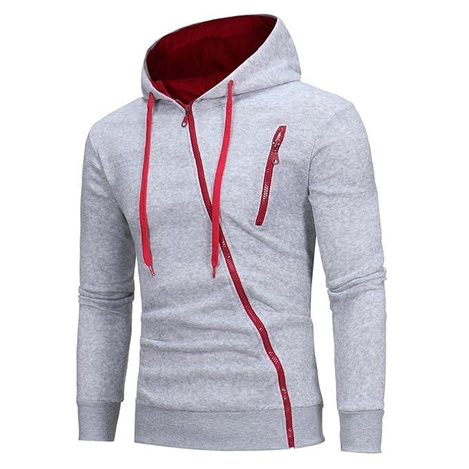 YunYoud Kapuzenpullover Mode Herren Lange Ärmel Sweatshirt Kapuzenpullover  Kapuzenpulli Tops beiläufiger Jacke Taschen Mantel Schrägem Reißverschluss  ... 8dcbd33d24