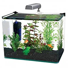 The Penn Plax Radius 10 Gallon Aquarium Kit includes a 10 gallon tank, internal cascade filter, LED light and a hinge-style plastic lid to make setup as easy as possible. Contemporary glass tank features a unique bent design with frameless co...