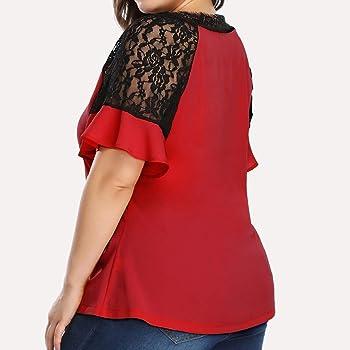 VEMOW Blusa Moda Mujer Casual Talla Extra Gasa Cuello en V Cordón Labor de Retazos Camiseta Manga Corta Tops Shirts tee Verano Otoño(Rojo, XL): Amazon.es: Ropa y accesorios